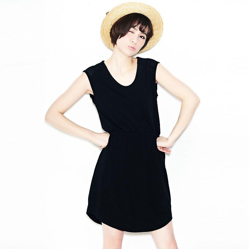 2013 NEW VANCL Women Dress Roxie Sleeveless Chiffon Soft Hand Touch Round Neck Sleeveless Design Dress Black FREE SHIPPING