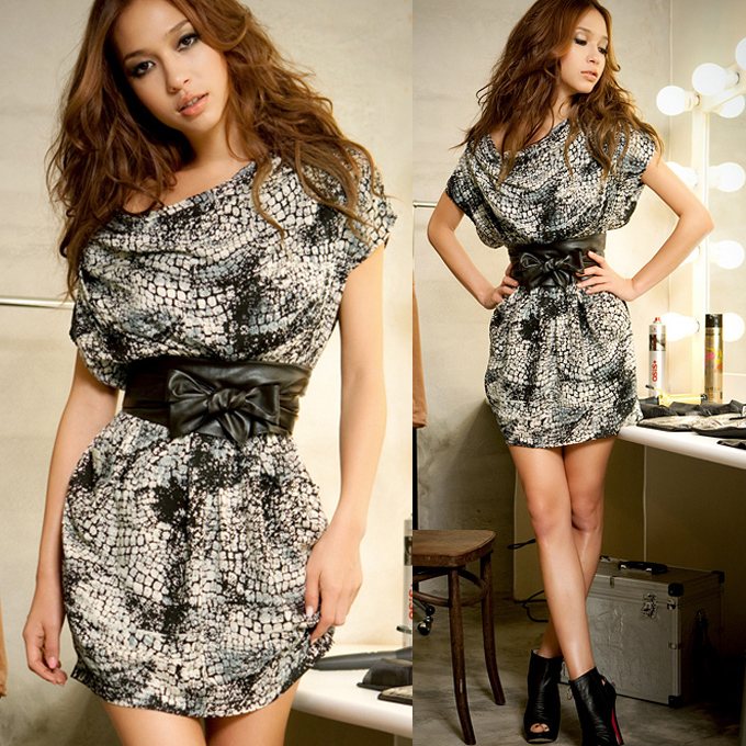 Exotic Womens Short Sleeve Draped Animal Print Tunic Mini Dress Pocket Casual(China (Mainland))