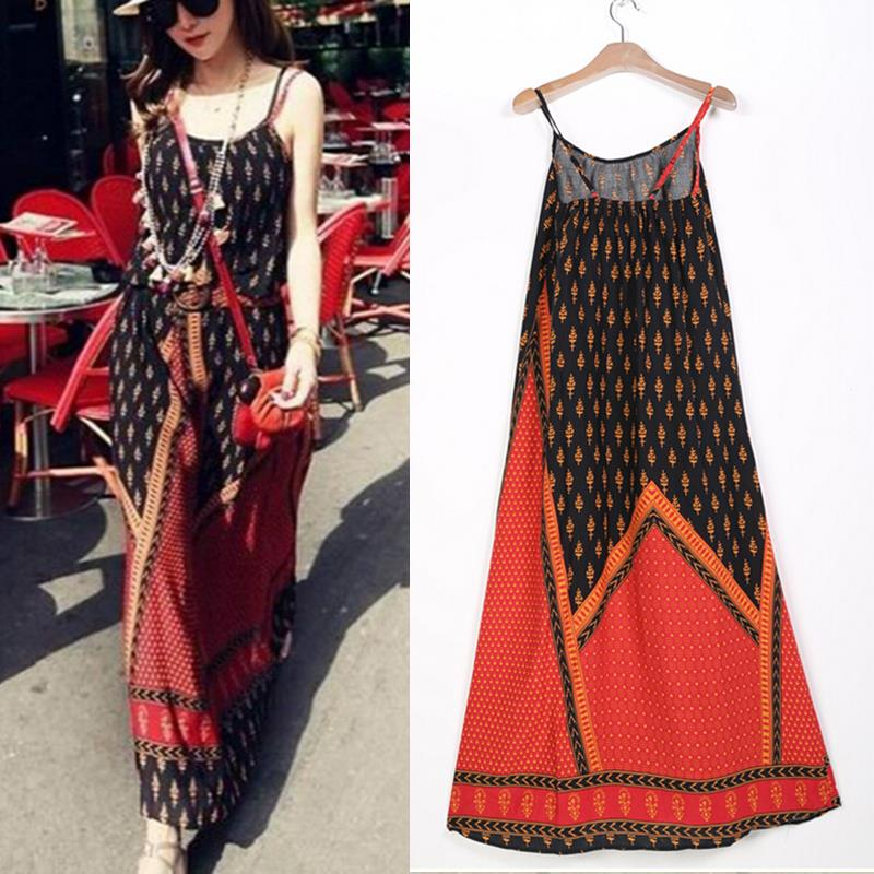 Bohemian summer women dress Ethnic Backless Floral Geometric Beach Sundress Summer Long Suspender Dress Lady Dresses 2015(China (Mainland))