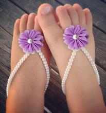 Baby Barefoot Sandals, Baby Foot Jewelry, Baby Shoes, Baby Pearl Barefoot Sandal,Toddler Barefoot Sandal(China (Mainland))