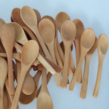 Chinese Small Wood Spoon For Children Wooden Tea Coffee Spoons Tableware Cooking Mini Honey Teaspoon 10pcs/lot Free Shipping(China (Mainland))
