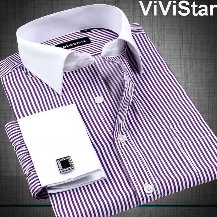 Luxury button cuff non iron men high quality slim fit long for Mens dress shirts cufflinks