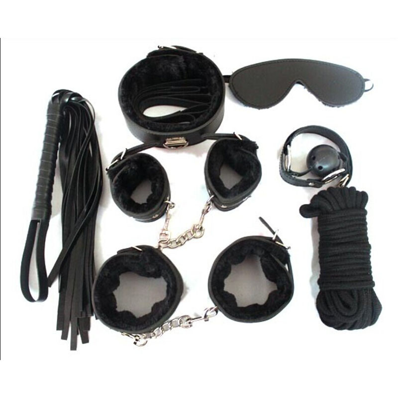 Adult Game 7-pcs Set Handcuffs Gag Clamps Whip Collar Erotic Toy Leather Fetish Sex Bondage Restraint Sex Toy for Couples(China (Mainland))