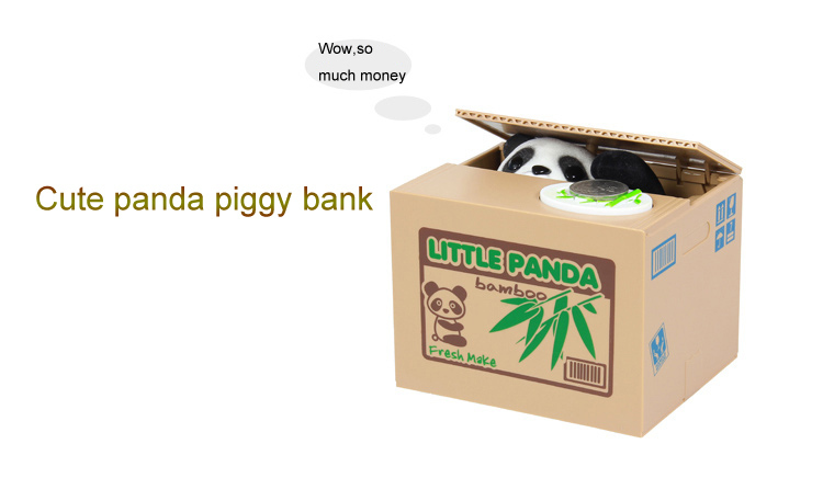Money Box panda Coin Bank Money Saving Box Kids Child Birthday Gifts Free Shipping Cute Stealing Coin Panda Piggy Bank(China (Mainland))