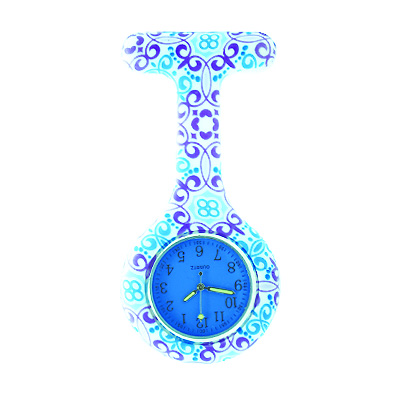 100pcs/lot free shipping colored face fashion prints round nurse watch Colourful Professional Useful Medical Watch(China (Mainland))