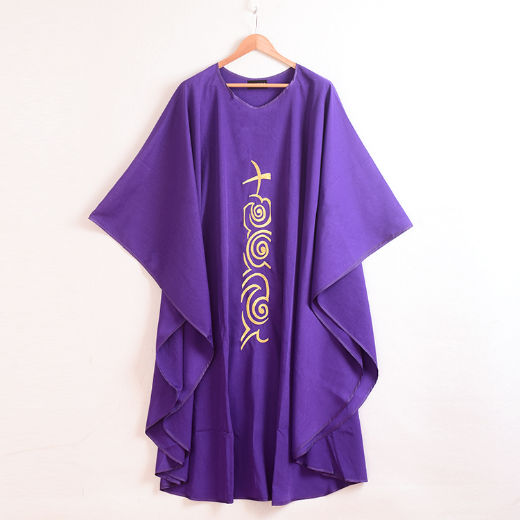 1pc Free size Church Purple Chasuble Cross Embroidered Priest Vestments Robe(China (Mainland))