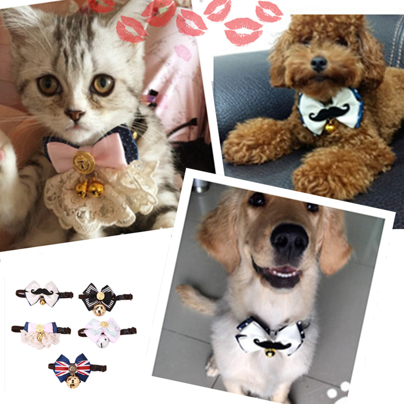Bells 2 size Dog Cat Pet Collar Cute Bow Tie Dog Collars With Bell Puppy Kitten Necktie Collar pets Jewelry for dogs DIY Photo(China (Mainland))