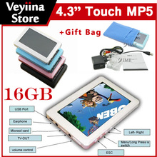 16GB 4.3 Inch HD Definition Touch Screen Music Player Mp4 Mp5 Player+TV Out+Video+FM Radio+Gift Bag Free Shipping Wholesale(China (Mainland))