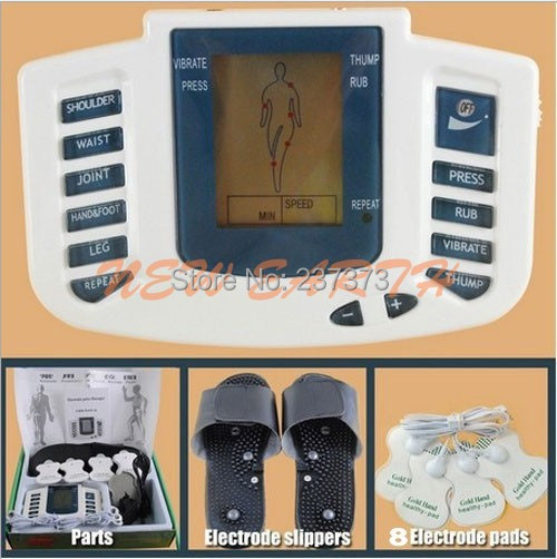 fast Free shipping hot selling JR-309 TCM digital massage TENS machine +Pulse TENS Acupuncture therapy slipper+ 8 Electrode pads(China (Mainland))