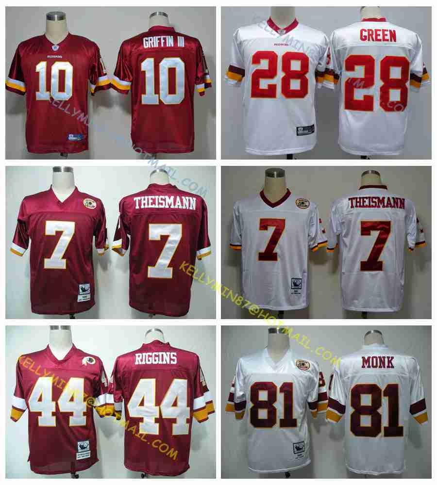 100% Stitiched,Washington Redskins,Robert Griffin III,Art Monk,John Riggins,Darrell Green,JOE THEISMANN,Throwback for men(China (Mainland))