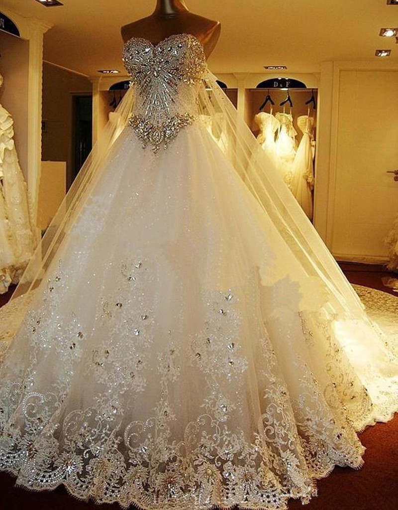 2016 hot sale luxury crystal beaded wedding dress long for Wedding dress for sale used