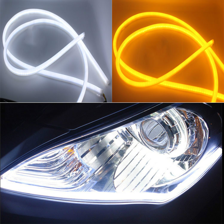 2PCS/lot 30CM Flexible led Tube Strip White car-styling soft Daytime Running Light DRL Headlamp Universal Car lights(China (Mainland))