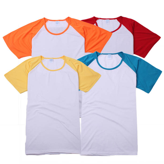 180g lycra cotton raglan sleeve multicolor round neck T-shirt class service advertising shirt work wear(China (Mainland))