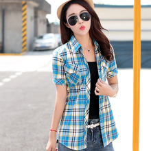 Buy 2017 New Summer Style Women Shirts 14colors 100% Cotton Short Sleeve Print Plaid Casual Shirt Blouses Plus Size Tops Clothing for $8.39 in AliExpress store