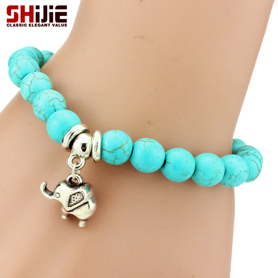 Shijie Bohemian charm bracelets bangles for women lovely Animal Botany turquoise long bracelet men jewelry bijoux