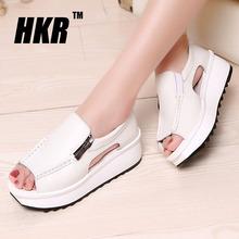 HKR 2016 women sandals summer wedges sandals gladiator sandals round toe zipper platform sandals female shoes flip flops 8332(China (Mainland))