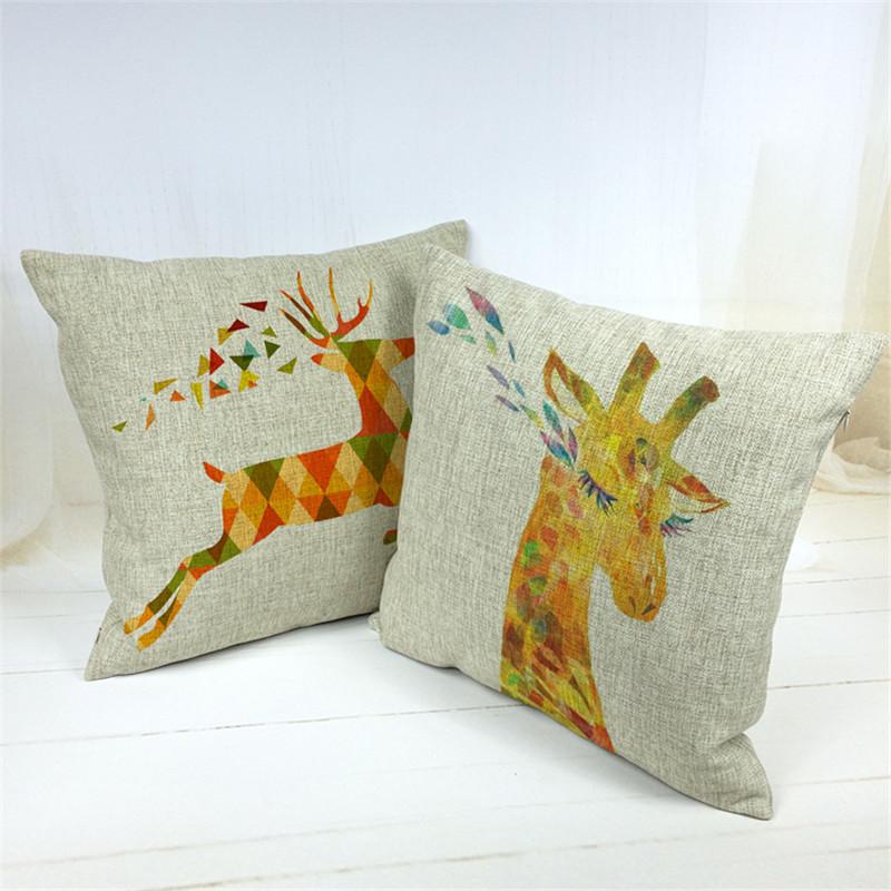 1PCS/Lot giraffe Printed Linen Cushion For Sofa Throw Pillow Chair Car Seat Pillow-in Cushion ...