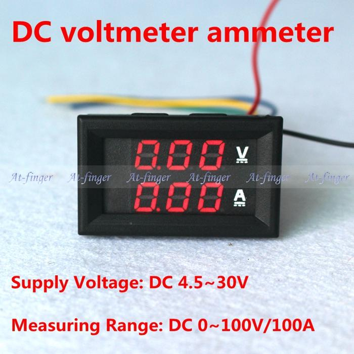 Red LED Digital DC voltmeter ammeter DC 0 100V 100A Voltage Current meter Volt Amp meter