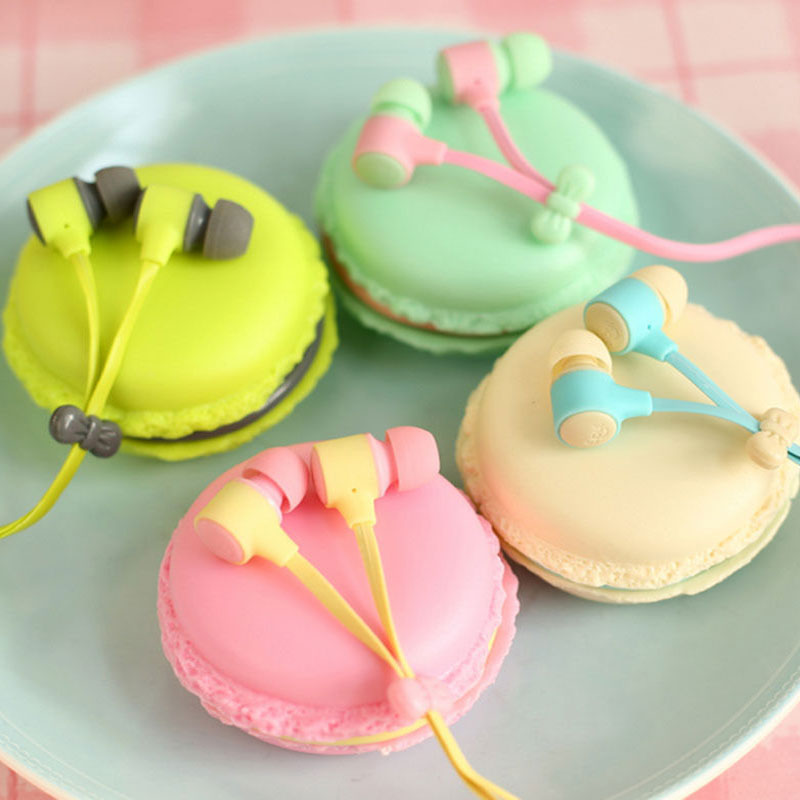 New Hot Macarons Design in-ear Earphones Headsets For All Phones MP3 Players Cute