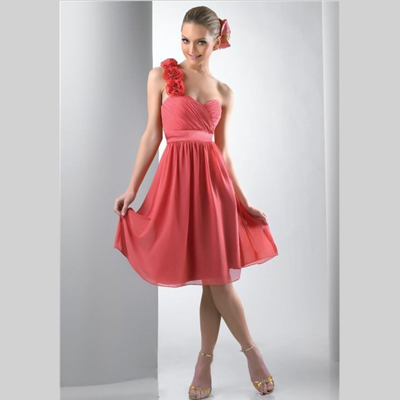 2015 elegant one shoulder blush bridesmaid dresses with for One shoulder short wedding dress