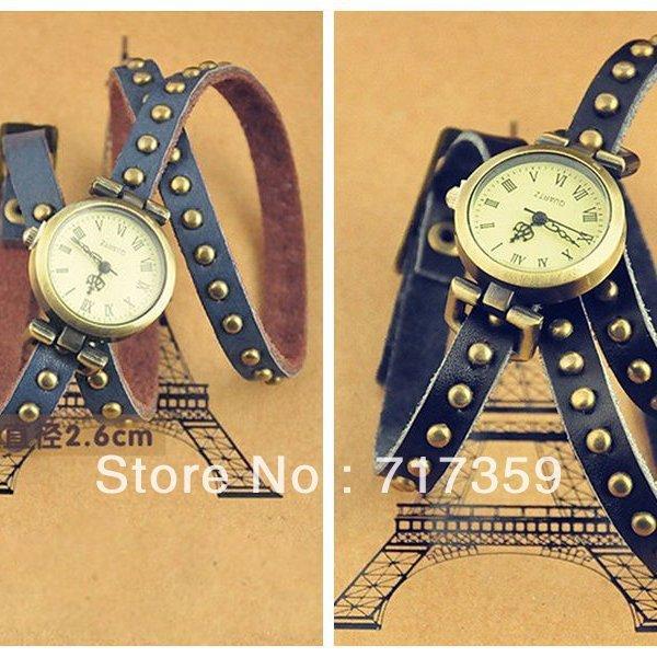 1pc /Lot, Wholesale Black/ royalblue New Women Retro Imitation Leather Rivet Strap Wristwatch 403106