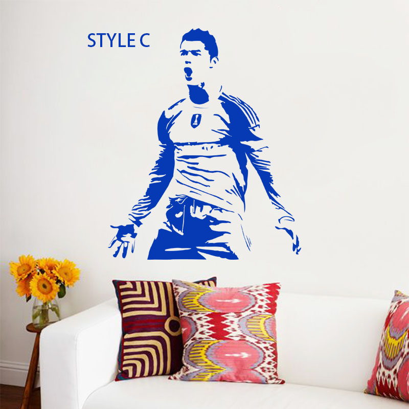 Art design name quote vinyl football player Cristiano Ronaldo A B C style cheap wall sticker removable soccer athlete decals(China (Mainland))