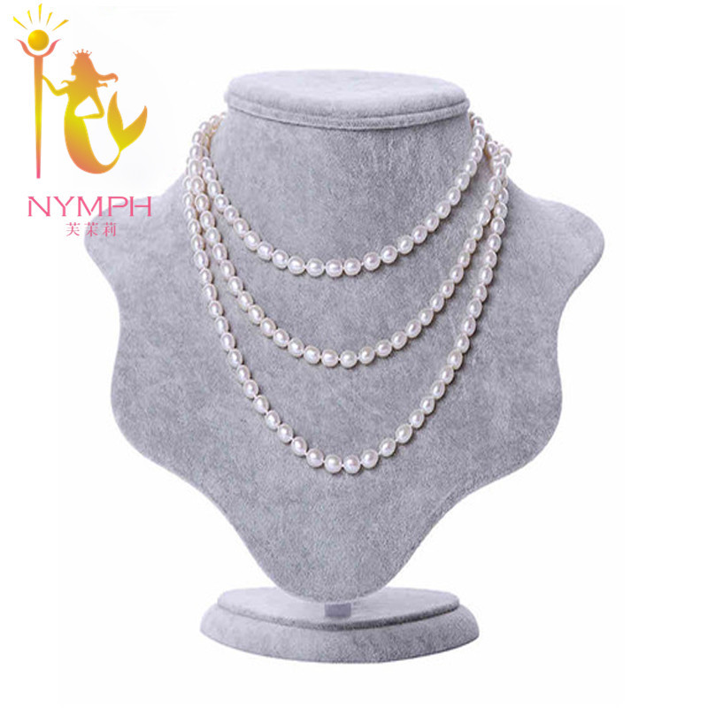 NYMPH brand Natural freshwater pearl long necklace, 8-9mm  multilayer white pearl necklace for women L105