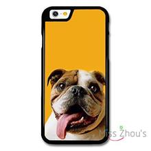 For iphone 4/4s 5/5s 5c SE 6/6s plus ipod touch 4/5/6 back skins mobile cellphone cases cover English Bulldog With Big Tongue