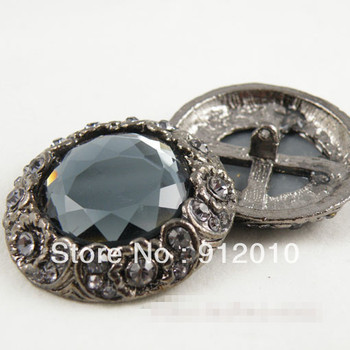 Free Shipping 20pcs 39mm Vintage Rhinestones Button High-grade Diamond Mink Button Gray glass Diamond Button Decoration