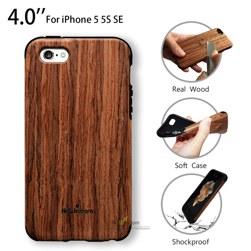 Wooden Cover Case for iPhone 5S 5 SE Real Wood Coque Luxury Silicone Shockproof Phone Cases Fundas for iPhone5 S SE NeWisdom(China (Mainland))