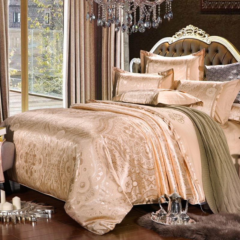 Silk Luxury bedding sets 4Pcs Embroidery bed linen duvet cover Jacquard Bedclothes home textile supplier Queen/King FAST ship(China (Mainland))