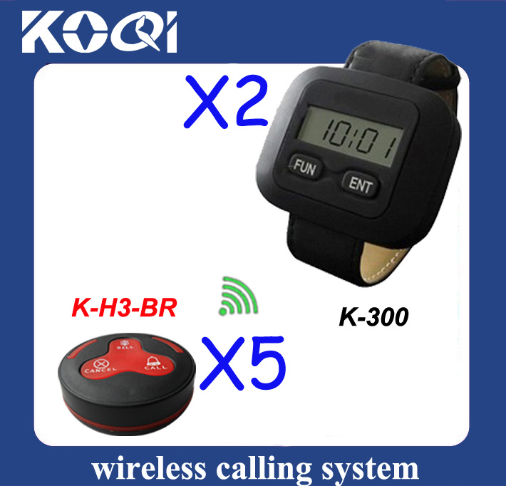 2013 Newest Restaurant Wireless service calling system ;5pcs of H3-BR table bell and 2 pcs of wrist K-300 watch reciever(China (Mainland))