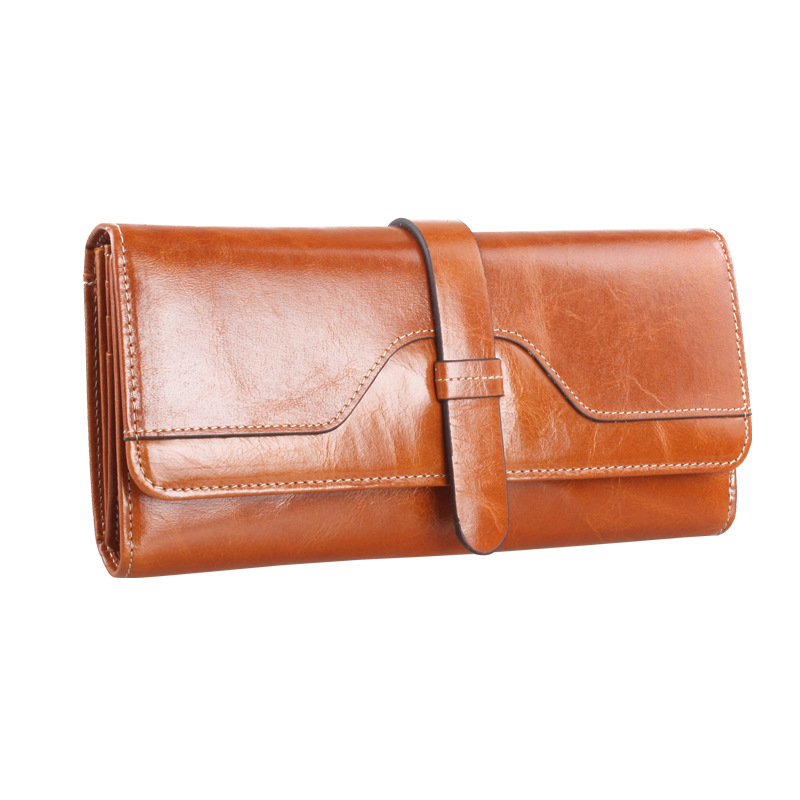 2016 New Fashion Women Wallets Oil Wax Paper Zipper Wallet Women's Long Design Purse three Fold More Color Clutch(China (Mainland))