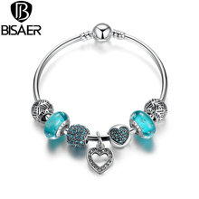 BISAER 2016 Romantic Vintage Bracelets Silver Plated Heart Pendant Bracelets with Blue European Beads Fit Pandora Bracelets(China (Mainland))
