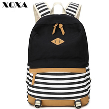 2016 preppy school bags backpack for girls teenagers cute canvas striped printing women backpack bag Female escolar mochilas(China (Mainland))