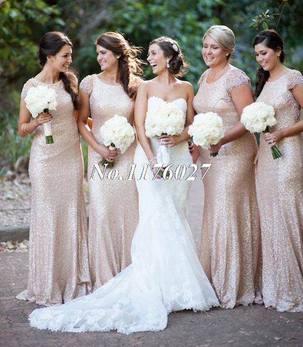 2016 Newest Long Bridesmaid Dresses Gold Sequins Bling Cap Sleeve Scoop Prom Dresses Wedding Party Gowns Vestidos Para Festa B3