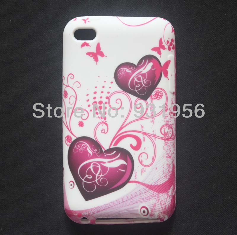 Double Heart Butterfly Flower Design Soft Rubber TPU Skin Case Cover For IPOD TOUCH 4 4th 4G + Screen Guard(China (Mainland))