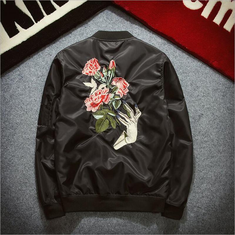 2016 New Mens Fashion Bomber Jacket Rose Embroidery Baseball Jacket Black Army GreenSlim Fit Jacket Z1318 Одежда и ак�е��уары<br><br><br>Aliexpress