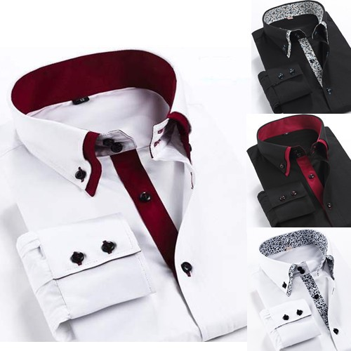 Mens shirt fashion 2015 double collar button branded men shirts casual Long sleeve 5 colors 100% Cotton - P&R Fashion Store store