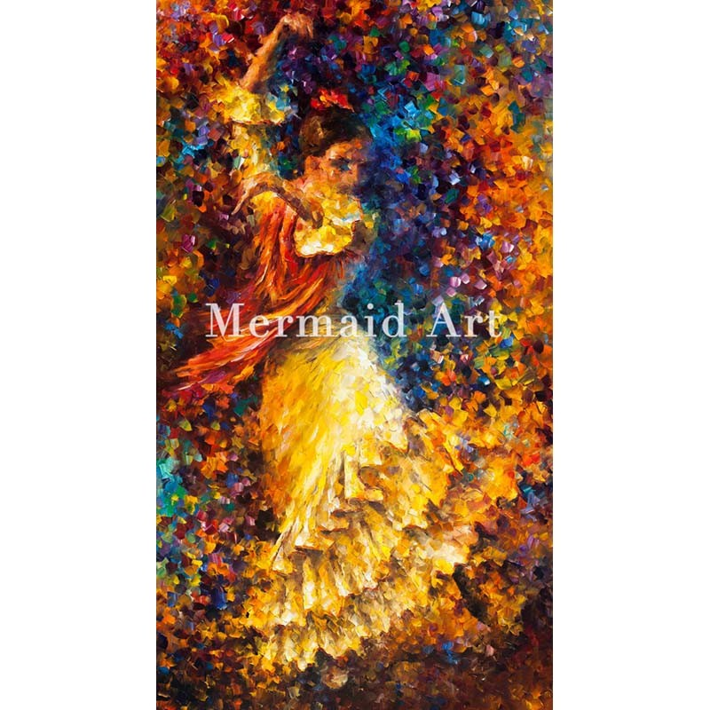Buy Hand Painted Landscape High Quality Abstract Palette Knife Follow The Leader Oil Painting Canvas Wall Decoration Living Room cheap