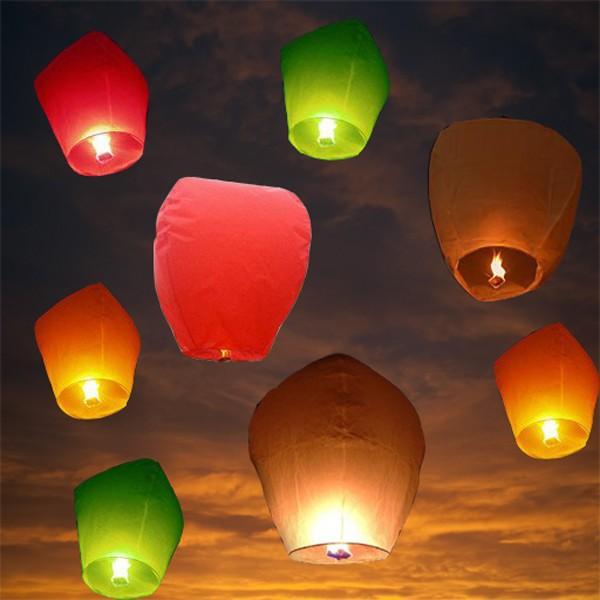 2015 Free Shipping 10pcs Hot Sale Multicolors Paper SKY LANTERNS Flying Paper Sky Lanterns(China (Mainland))