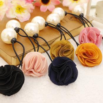 Fashion Korean Hair Ring Fashion Flower Rose Pearl Hair Tie Head Ornaments Hair Band Hair Accessory For Women & Girl