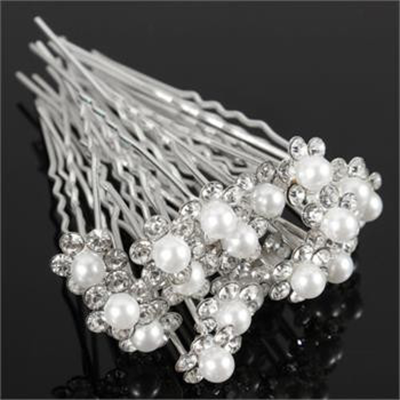 20pcs Bridal Wedding Jewelry Flower Hairpin Silver Crystal Hair Pins Rhinestone Clips Baby White Pearl Hair Jewelry Accessories(China (Mainland))