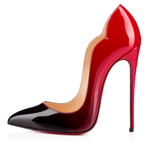 Free shipping female sexy 12cm red bottom heels, red and black petal heels wave heels, brand quality party heels, EUR 36-43<br><br>Aliexpress