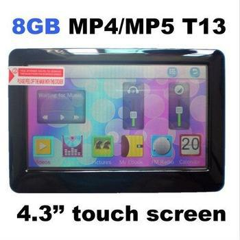 100pcs/lot 8GB T13 4.3 inch HD definition touch screen Mp4 Mp5 player+TV out+Video+FM radio+free shipping(China (Mainland))