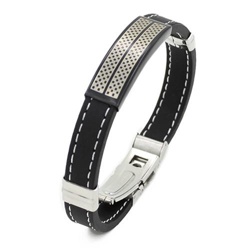 Splendid Trendy Black Silver Stainless Steel Cuff Rubber Wristband Men Boys Cool Bangle 52MN(China (Mainland))