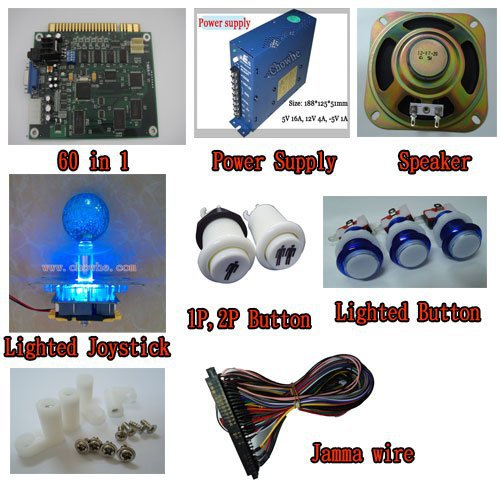 [1 kit] arcade game 60 in 1, power supply, speaker, lighted joystick, lighted button, 1P2P button jamma wire, PCB feet(China (Mainland))