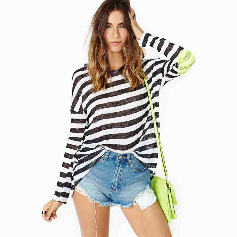 2014 hot sale black and white striped printed t shirt for Black and white striped long sleeve shirt women