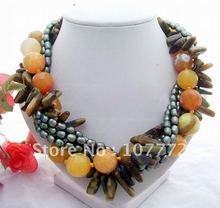 Stunning! 5S Pearl&Agate&Opal Necklace+free shippment(China (Mainland))