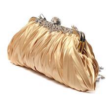 Fashion Lady Party Wedding Handbag Purse Girl Soft Evening Bag Bridal Women Satin Crystal Clutch(China (Mainland))
